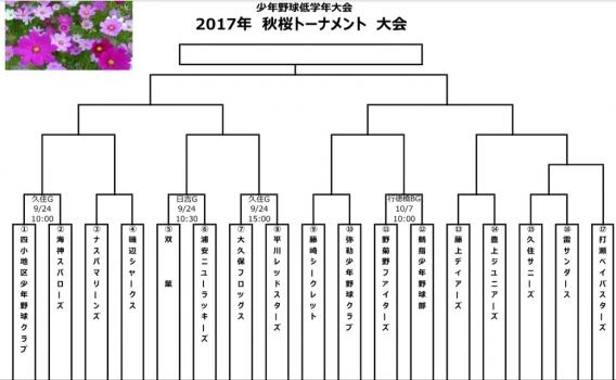 開催決定!!第1回秋桜トーナメント大会(4年生以下低学年大会)